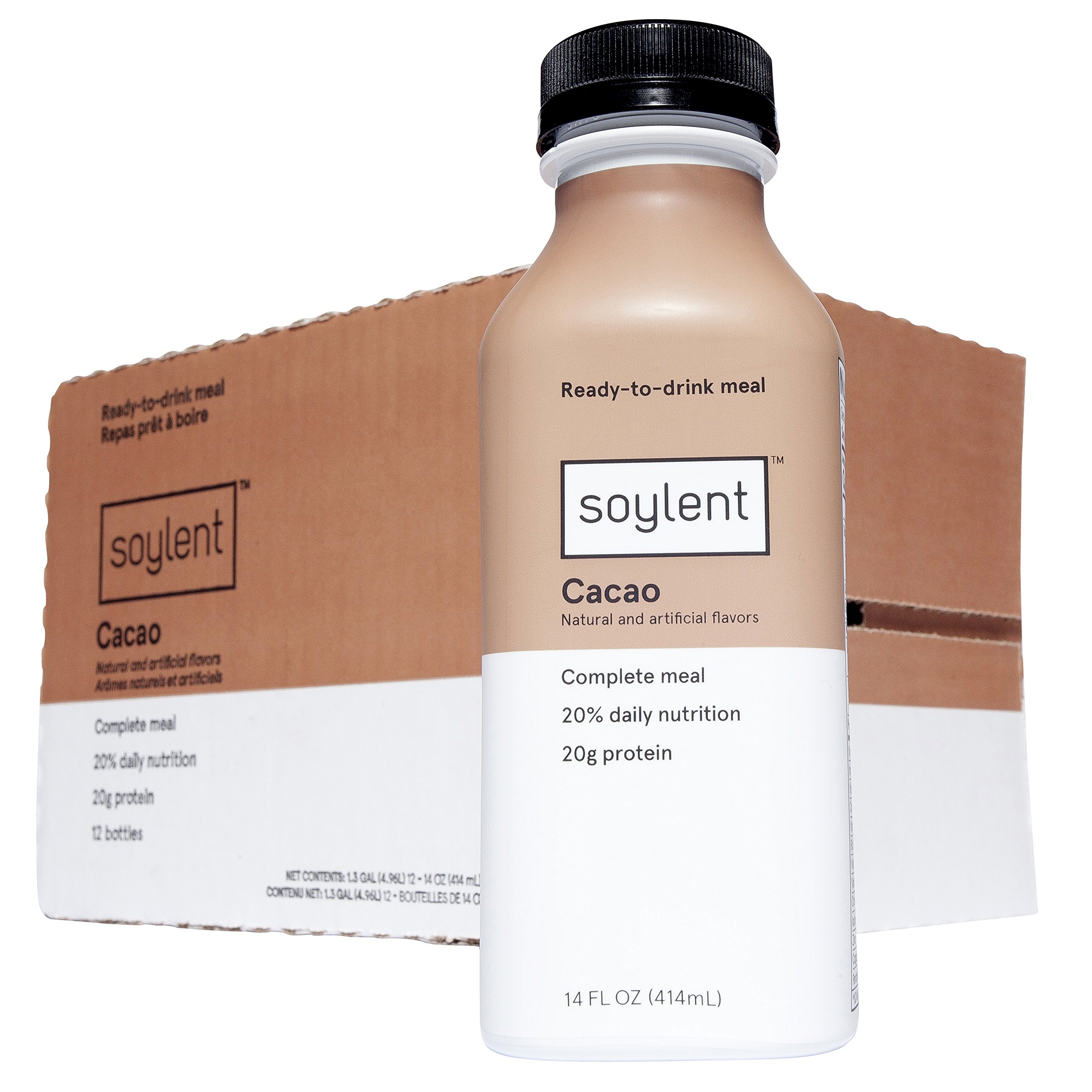 Soylent Meal Replacement Shake, Cacao, 14 oz Bottles, 12 Pack