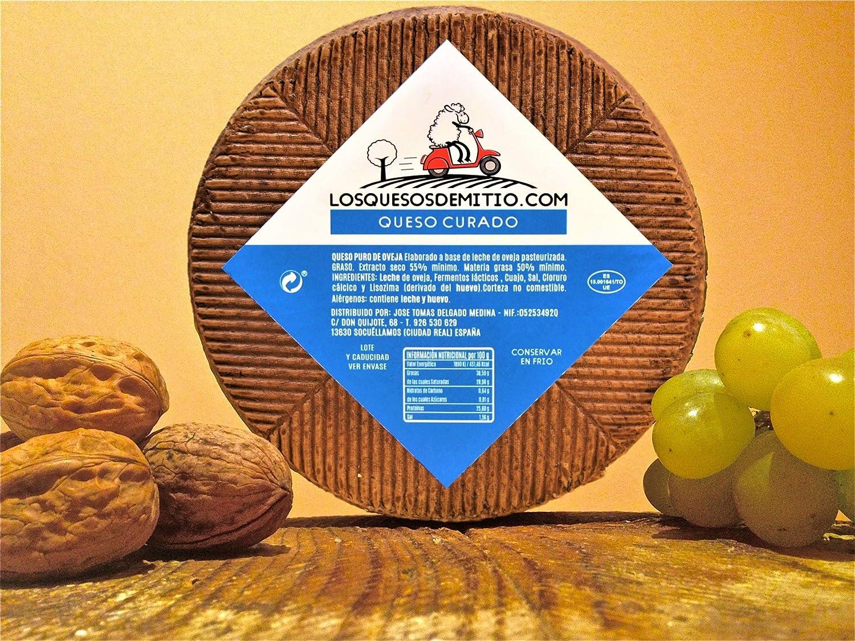 Queso de oveja curado gourmet, con caja de madera premium (español, sabor profundo, ideal con vino, queso entero de 2kg, de leche pasteurizada), ...