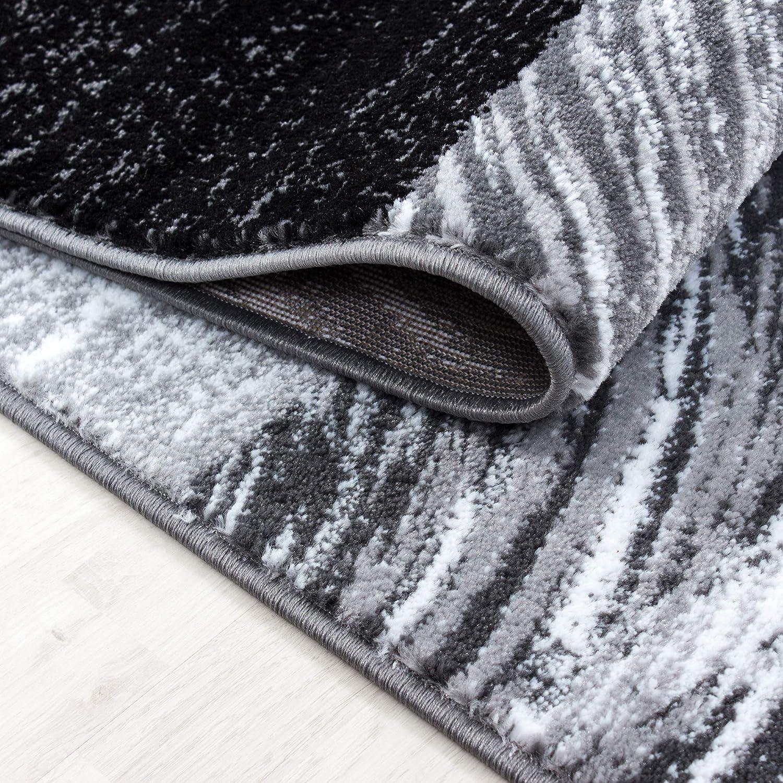 HomebyHome HomebyHome HomebyHome Moderner Design Konturschnitt Teppich 3TLG Bettumrandung Läufer Set Schlafzimmer Flur Geometrisch Patchwork Schwarz Grau Weiss meliert, Bettset 2 x 80x150 cm + 1 x 80x300 cm 9b147b
