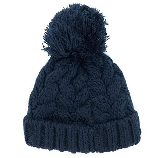 49f6d3653ba Amazon.com  accsa Baby Unisex Navy Cable Knit Chunky Pompom Beanie with  Fleece Lining for Age 0-24 Month  Clothing