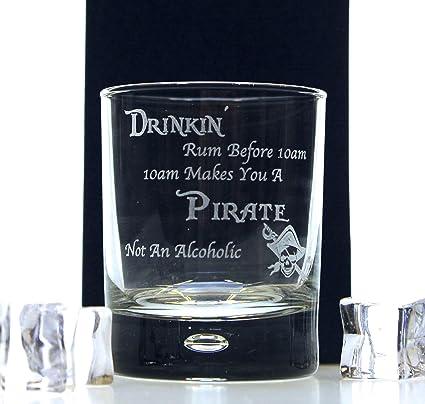 FBA) grabado diseño de Ron pirata vaso de cristal – regalo ...