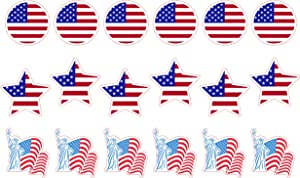 H2 Studio American Flag Stickers, US Flag Stickers, Waterproof Vinyl USA Flag Stickers for Laptop, Hard Hat Stickers, American Flag Decals for Trucks, Window Decals for Vehicles, Patriotic Stickers