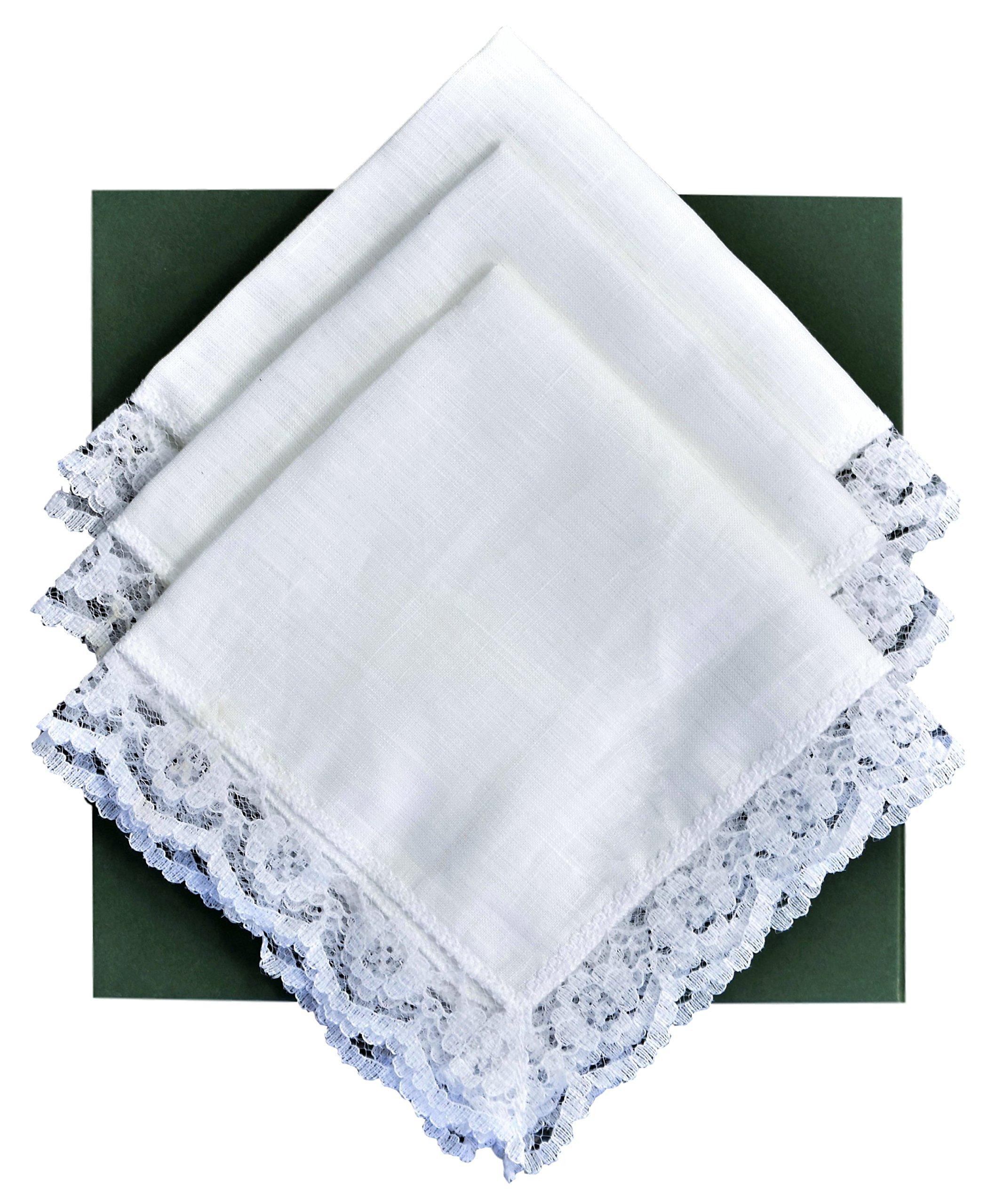 Thomas Ferguson - Ladies White Irish Linen Handkerchief - Pack of 3 In Gift Box by Thomas Ferguson Irish Linen (Image #1)