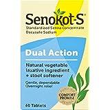 Senokot-S Dual Action 60 Tablets, Natural Vegetable Laxative Ingredient Plus Stool Softener Tablets, Gentle Dependable Overni