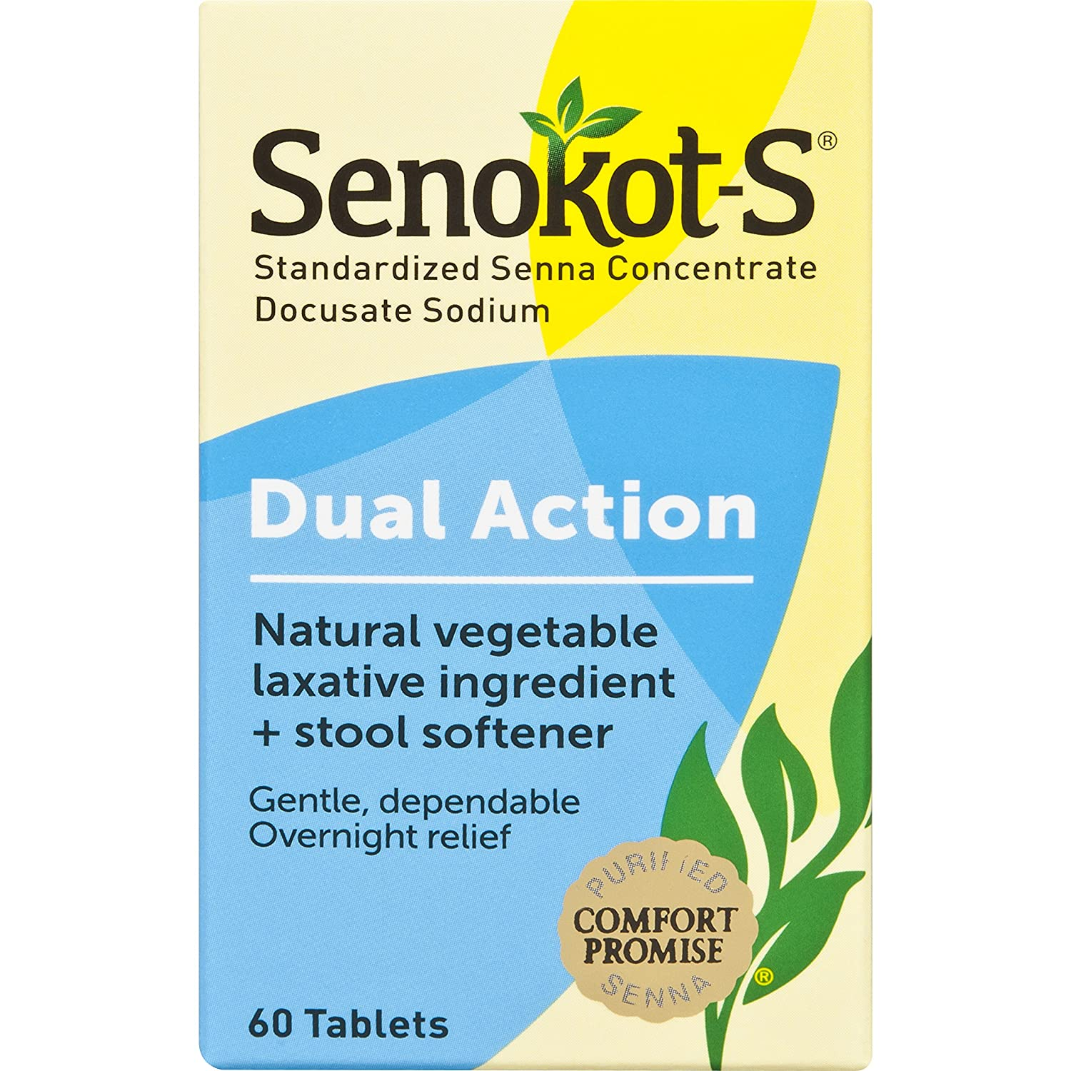 Senokot-S Dual Action 60 Tablets, Natural Vegetable Laxative Ingredient Plus Stool Softener Tablets, Gentle Dependable Overnight Relief of Occasional ...