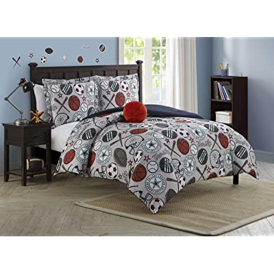 Mytex League Sports, Kids, 3-Piece Reversible Comforter Set, Twin, Gray: Home & Kitchen
