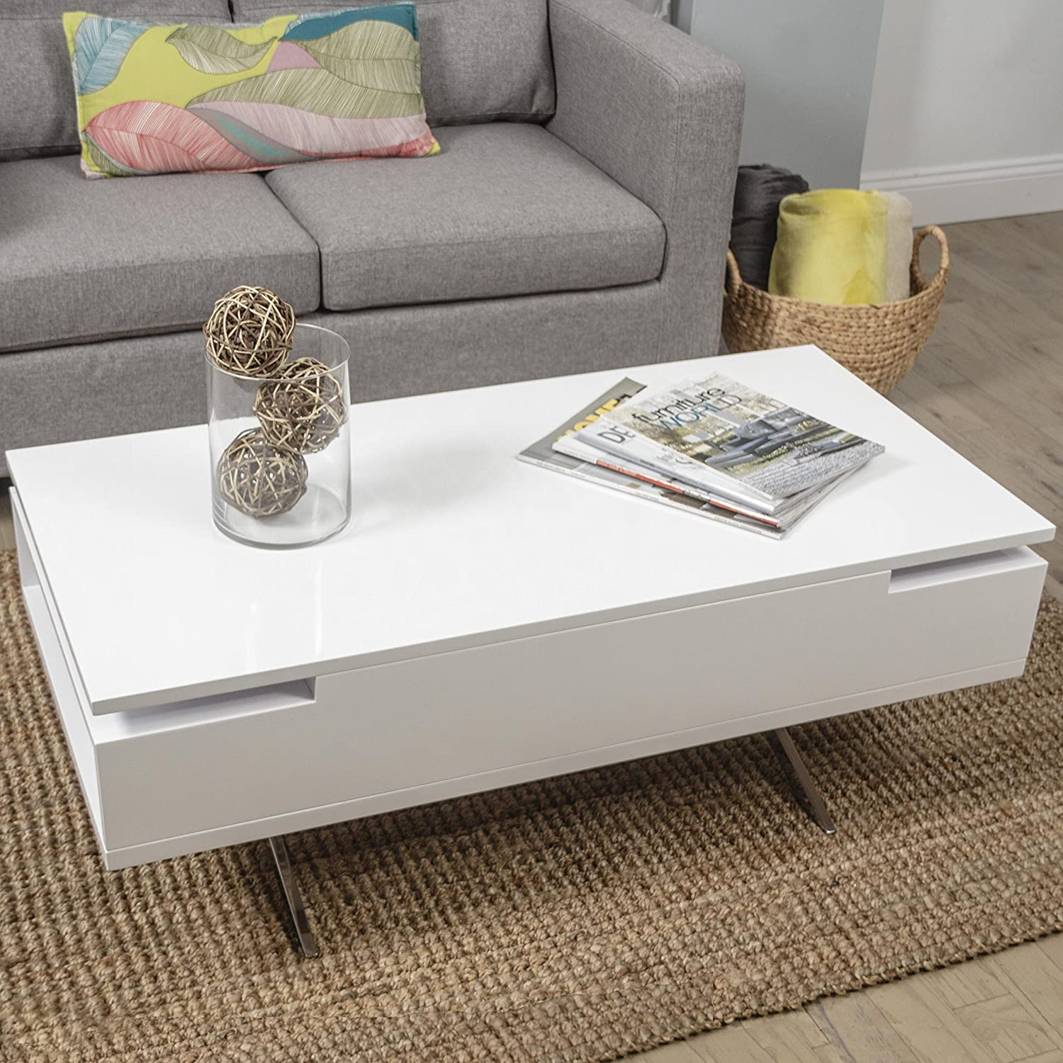 Amazon.com: In The Mix MIX High Gloss Lacquer Wood Stainless Steel Legs  White Lift Top Rectangular Coffee Table With Hidden Storage: Kitchen U0026  Dining