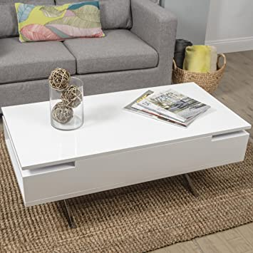 MIX High Gloss Lacquer Wood Stainless Steel Legs White Lift Top Rectangular Coffee  Table With