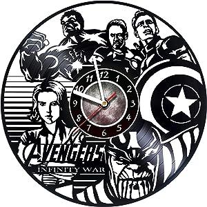 Iskra Shop Avengers Vinyl Record Wall Clock - Get Unique Living Room Wall Decor - Gift Ideas for Men and Women, Children - Marvel Comics Unique Art Design - Leave us a Feedback and Win a Clock !
