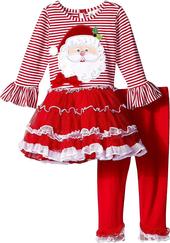 Rare Editions Girls Little Santa Applique Tutu Legging Set