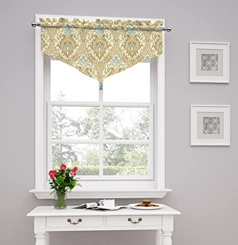 Traditions by Waverly 14976052021BIR Dressed up Damask 52-Inch by 21-Inch Ascot Valance, Birch