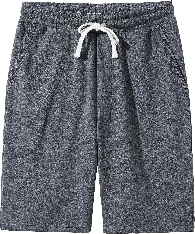 VANCOOG Men's Casual Cotton Knit Short Drawstring Elastic Jogger Gym Shorts