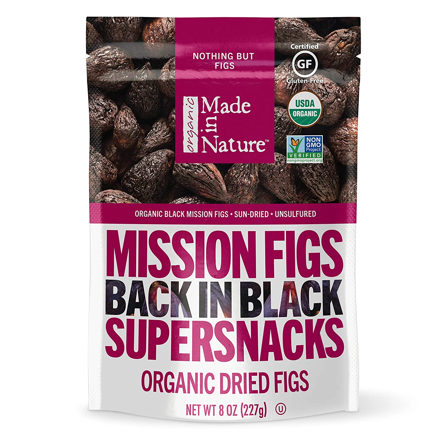 Made in Nature Organic Dried Fruit, Mission Figs, 8oz Bags (6 Count) – Non-GMO, Unsulfured Vegan Snack