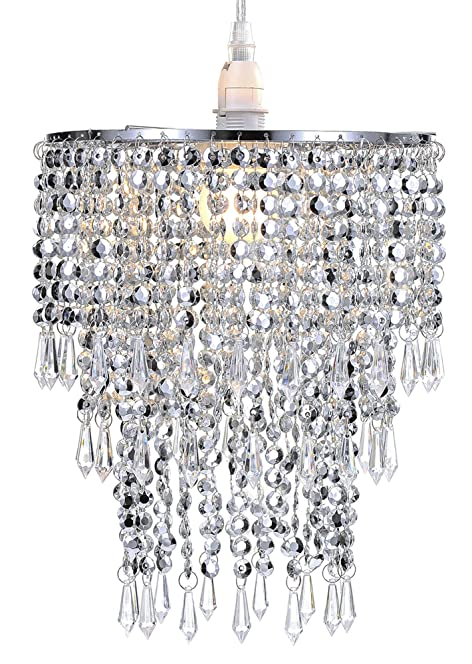WanEway 3 Tier Beads Pendant Shade, Ceiling Chandelier Lampshade ...