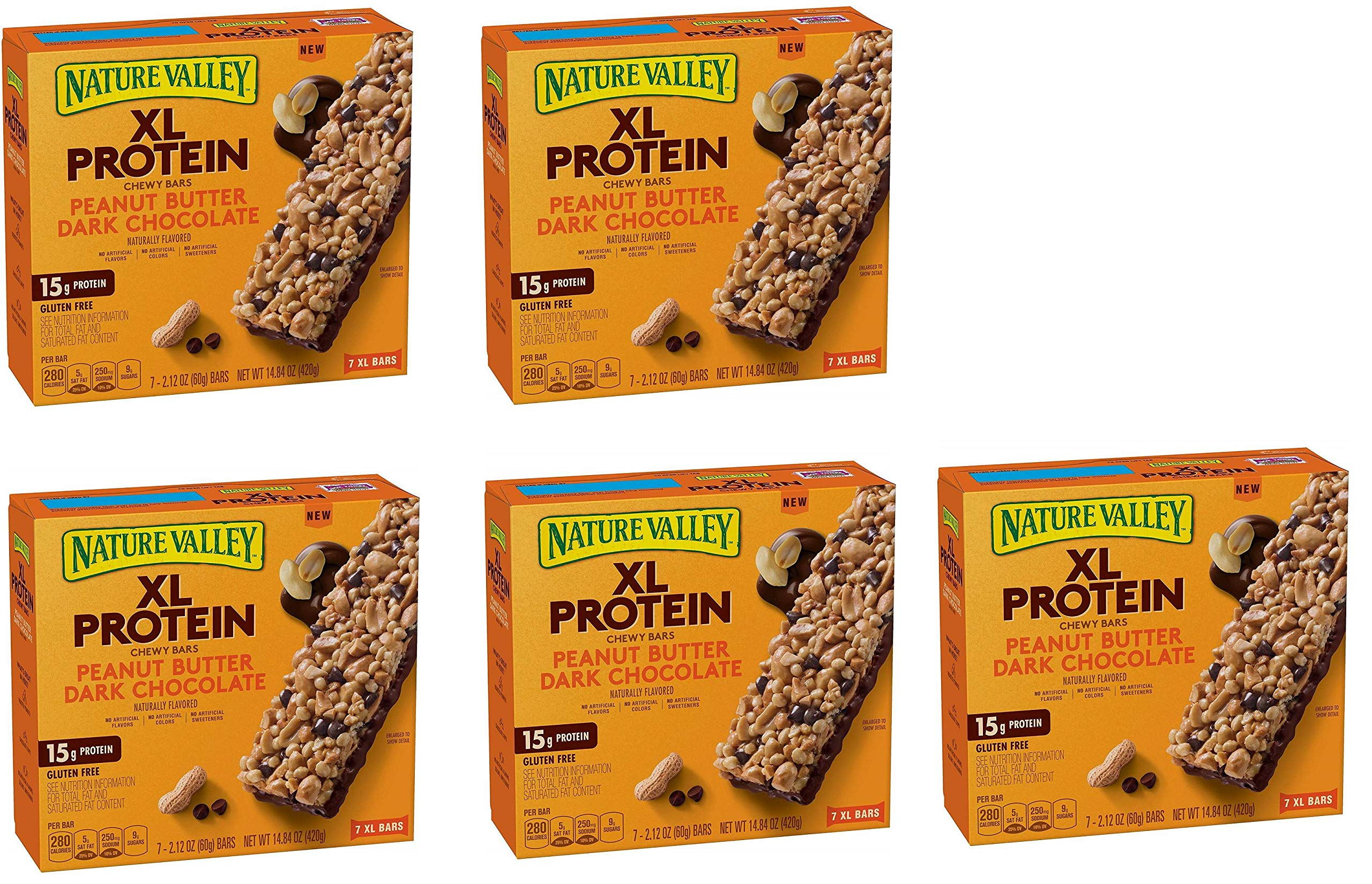 Nature Valley Chewy Granola Bar, XL Protein, Gluten Free, Peanut Butter Dark Chocolate, 7 Bars, 2.12 oz, 42 Bars (5 Boxes)