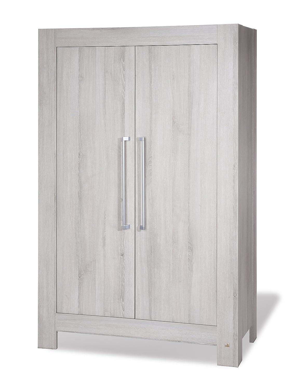 Pinolino Kleiderschrank Somnio, moderner, 2-türiger Kleiderschrank, Esche schilfgrau mit Echtholzstruktur, Maße 110 x 57 x 178 cm (Art.-Nr. 14 00 71)