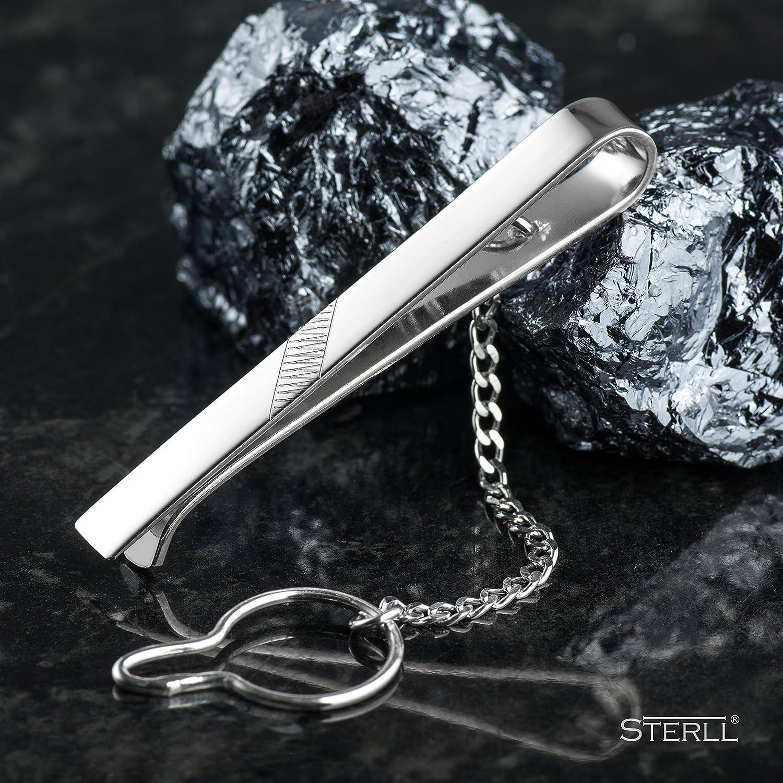 STERLL Homme Pince /à cravate COURTE argent Argent sterling brillante avec un dessin en zigzag /écrin bijoux Id/ées cadeaux pour Hommes
