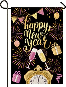 Atenia Happy New Year Burlap Garden Flag, Double Sided Happy New Year Garden Outdoor Yard Flags
