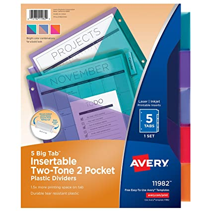 Amazon Avery Big Tab Insertable Plastic Dividers Two Tone