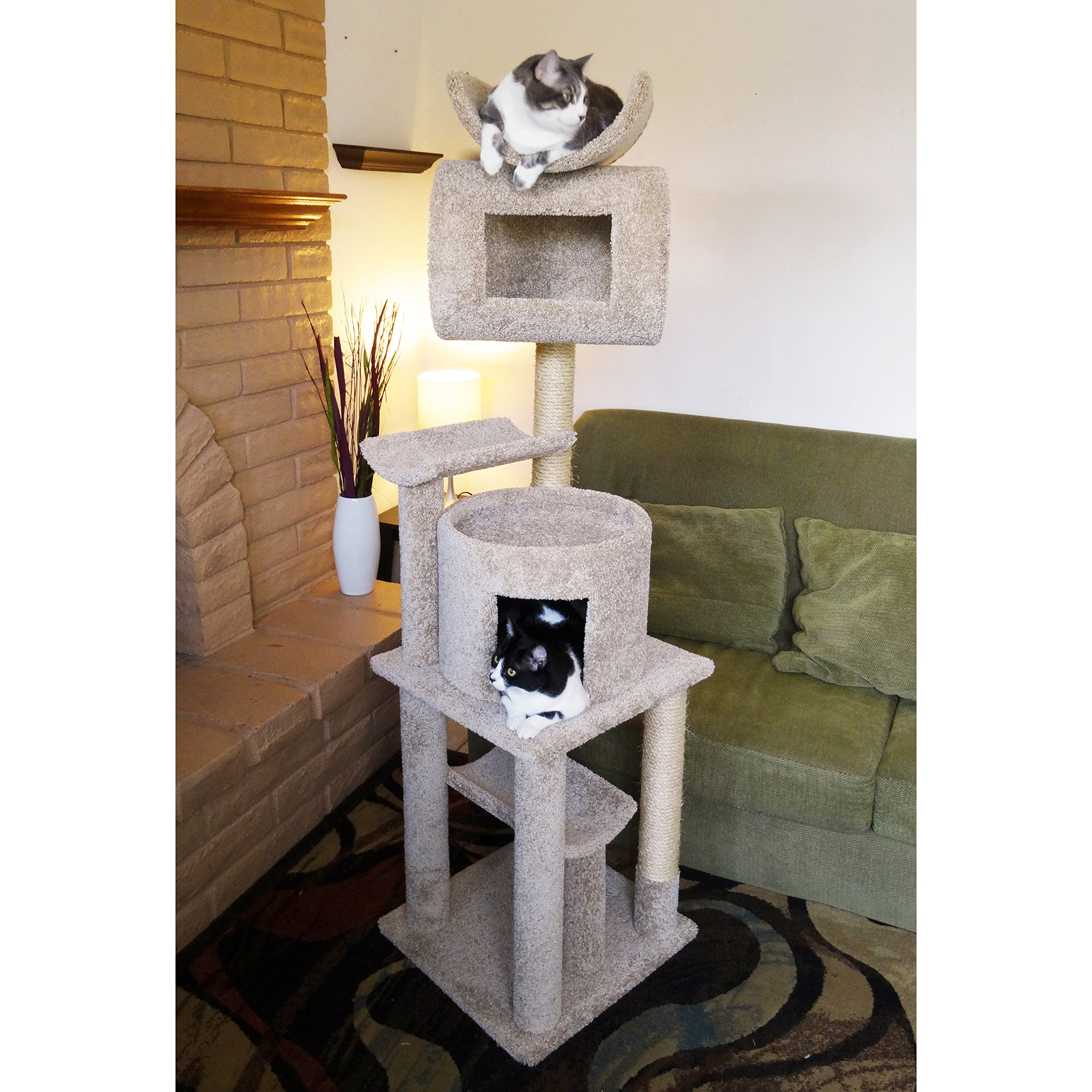 Wooden Cat Tree Tower with Condo, Cradle $ Sisal Posts, Brown Carpet