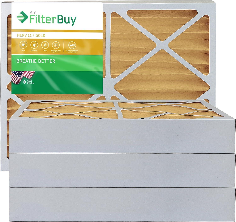 FILTERBUY 20X25X4 MERV 11 플리츠 AC 용광로 공기 필터 (4 필터 팩) 실제 크기 19 3   8
