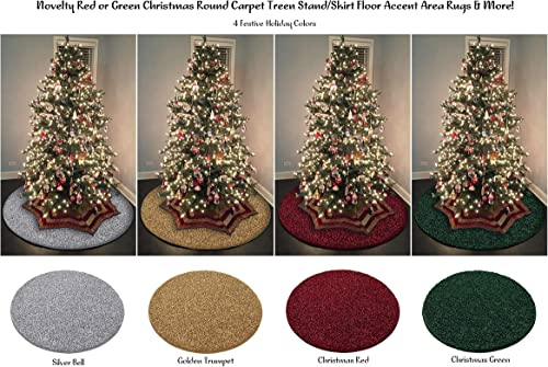Novelty Red or Green Christmas Round Carpet Tree Stand Skirt Floor Accent Area Rugs More Golden Trumpet, 12 Round