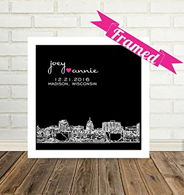 Madison Skyline Personalized Wedding Gift Framed Art Madison Wisconsin Wedding Gift Unique Wedding Gift for Couple Any City Available WORLDWIDE!