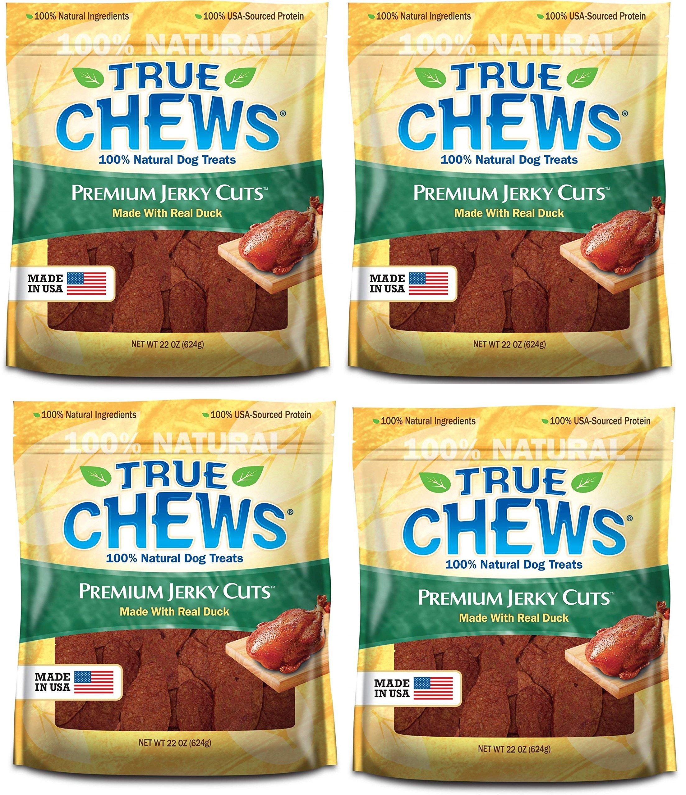 True Chews Dog Treats Premium Duck Jerky 22oz Made in USA (4 Packs)