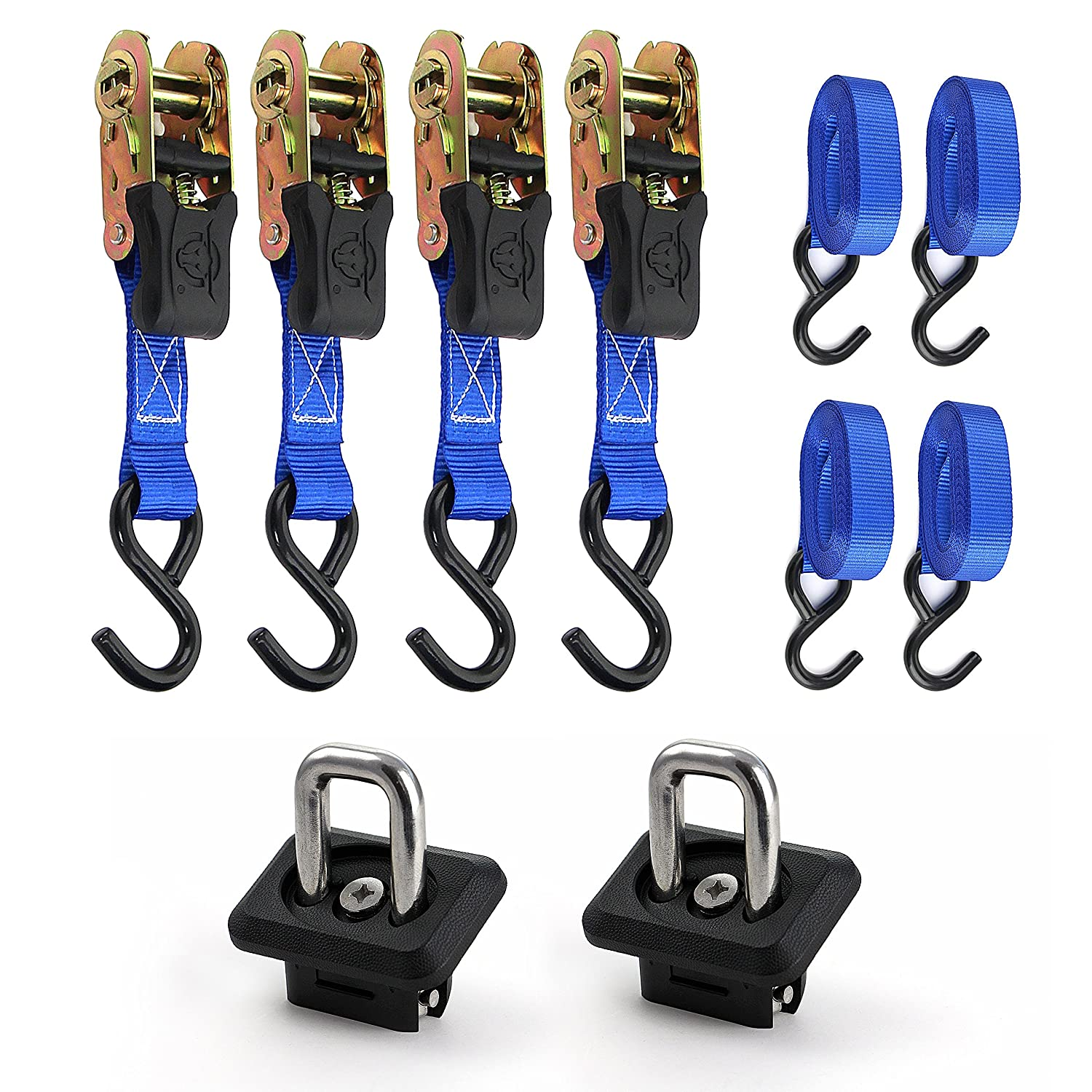 5 Year 100/% Replacement Guarantee 1 x 15 4 Pack Includes 1 Pair BULL RING Retractable Anchors Premium Ratchet Strap by Bull Ring Your Choice to Fit Your Truck