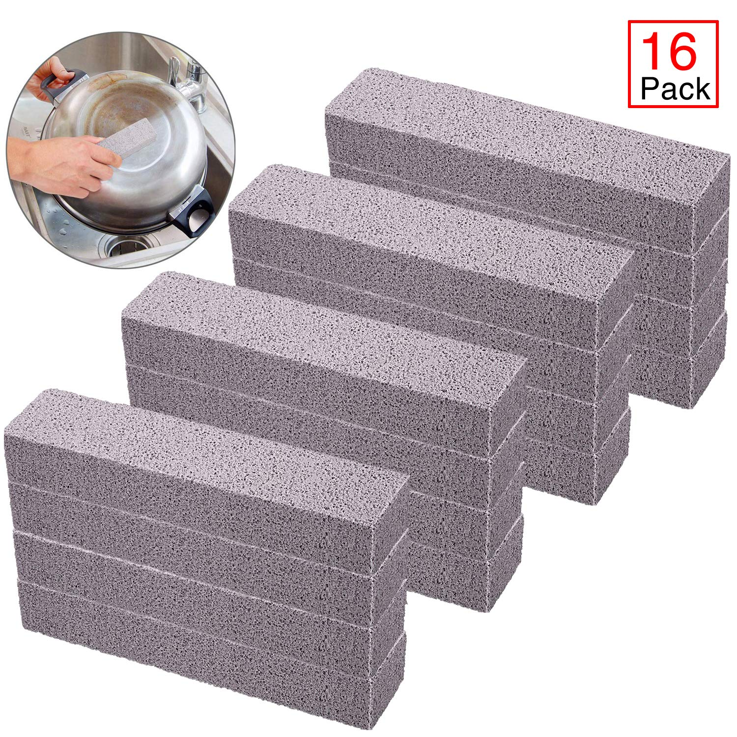 Onene 16 Pieces Pumice Sticks, Pumice Stones for Cleaning, Pumice Scouring Pad, Scouring Bars, Toilet Bowl Ring Remover, for Kitchen, Bath, Pool, Spa, Household Cleaning