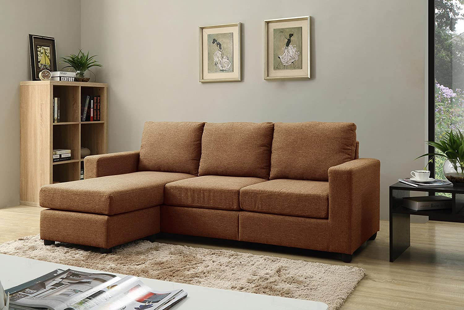 Amazon.com: NHI Express Alexandra Convertible Sectional Sofa, Brown:  Kitchen U0026 Dining