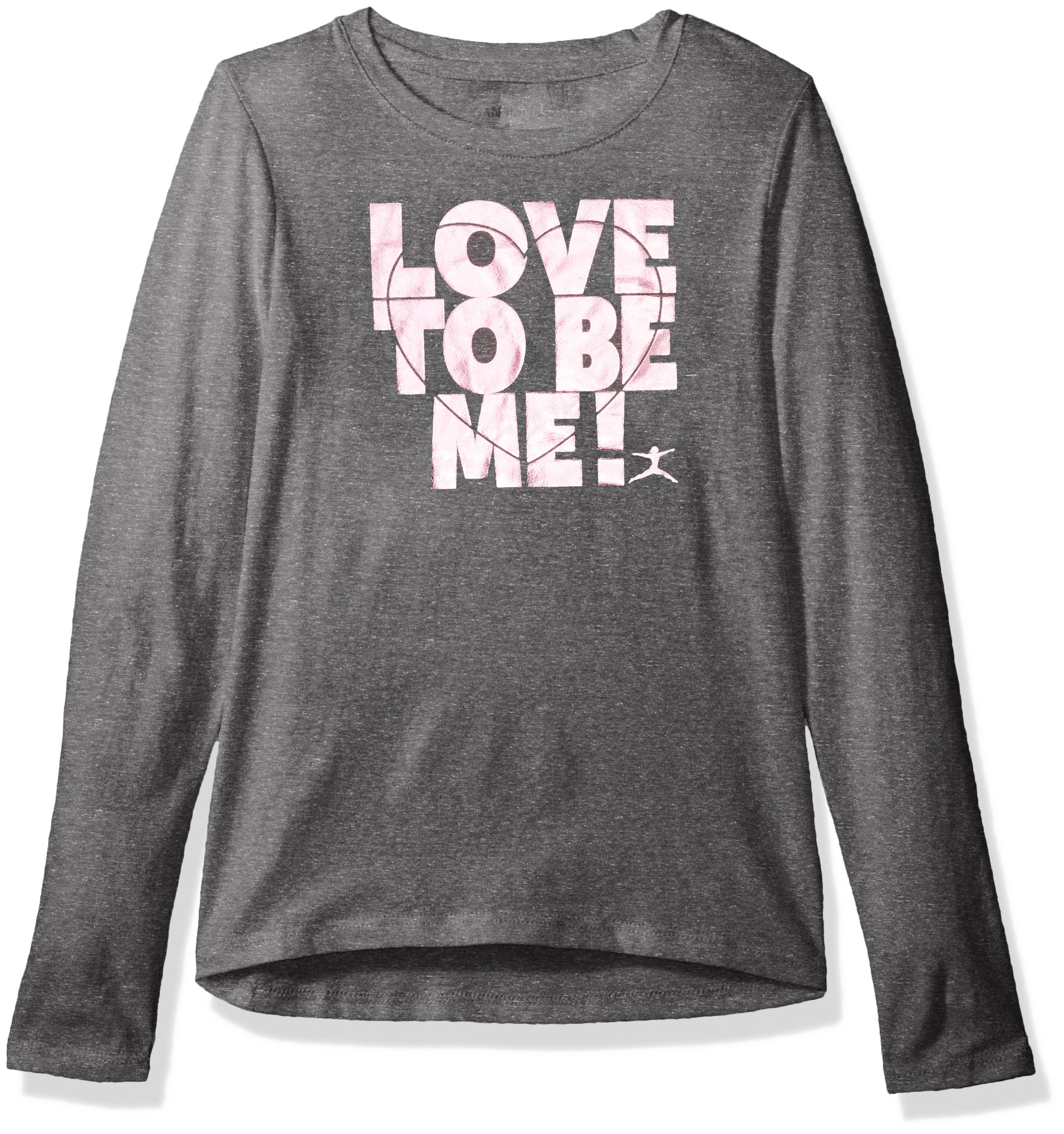Danskin Big Girls' Long Sleeve Graphic Tee, Love to Be Me Charcoal Grey Heather, M