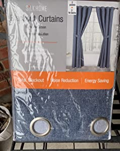 Silk Home Set of 2 Smoke Blue Room Darkening Curtains Noise Reduction + Thermal Insulation 2 Panels Each 52 x 84 inches