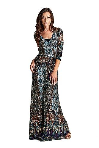 On Trend Women's Paris Bohemian 3/4 Sleeve Faux Wrap Maxi Dress Long