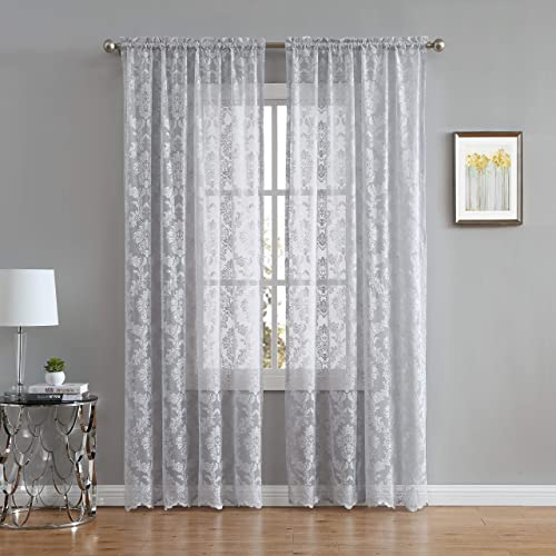 LinenZone Fiona Knitted Lace Curtain Medallion Design with Scalloped Bottom – Rod Pocket – Total Size 108 Inch Wide 54 Each Panel – 84 Inch Long 2 Panels 54 x 84, Silver