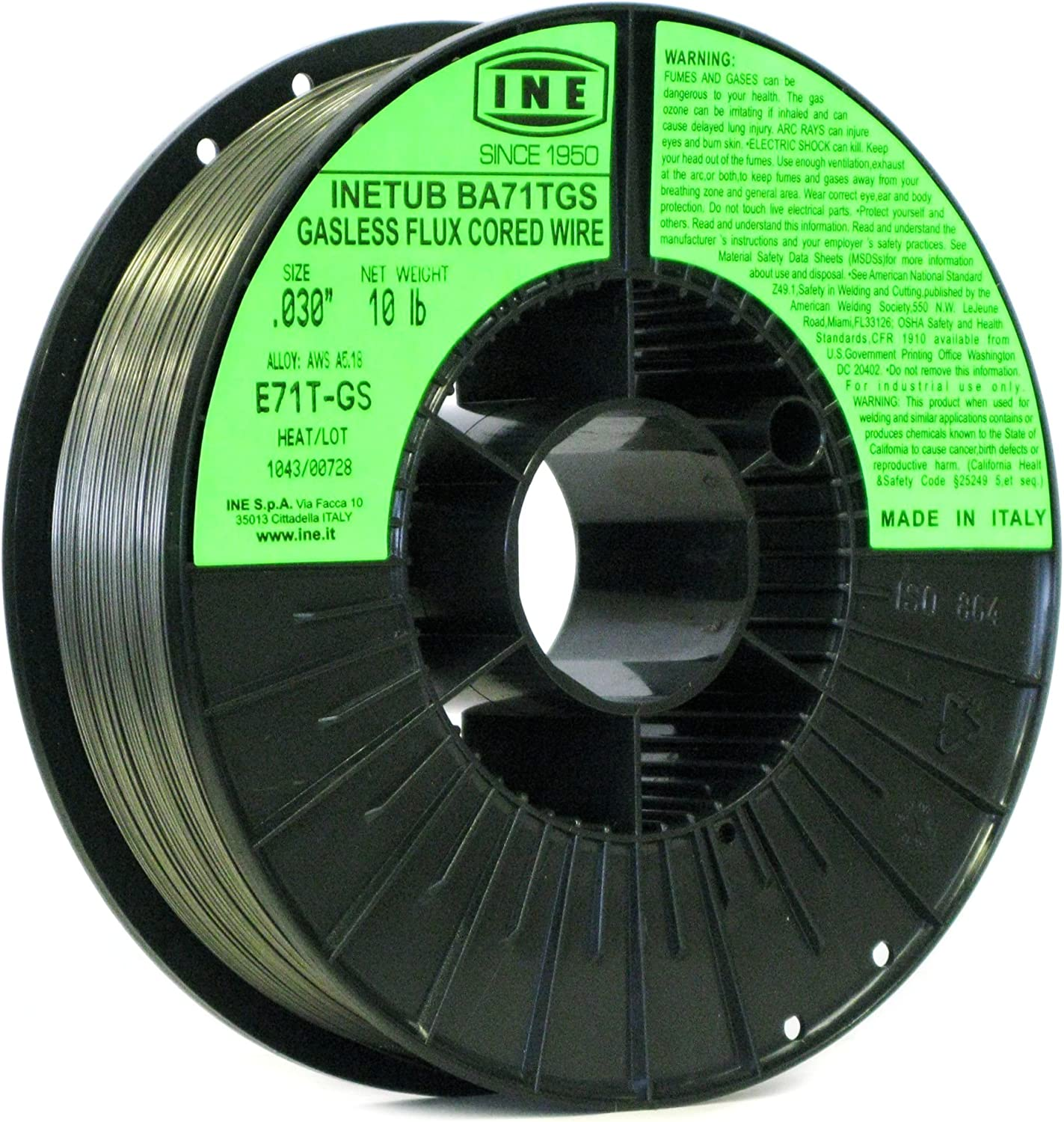 INETUB BA71TGS .030-Inch on 10-Pound Spool Carbon Steel Gasless Flux Cored Welding Wire INE USA 8024499260259