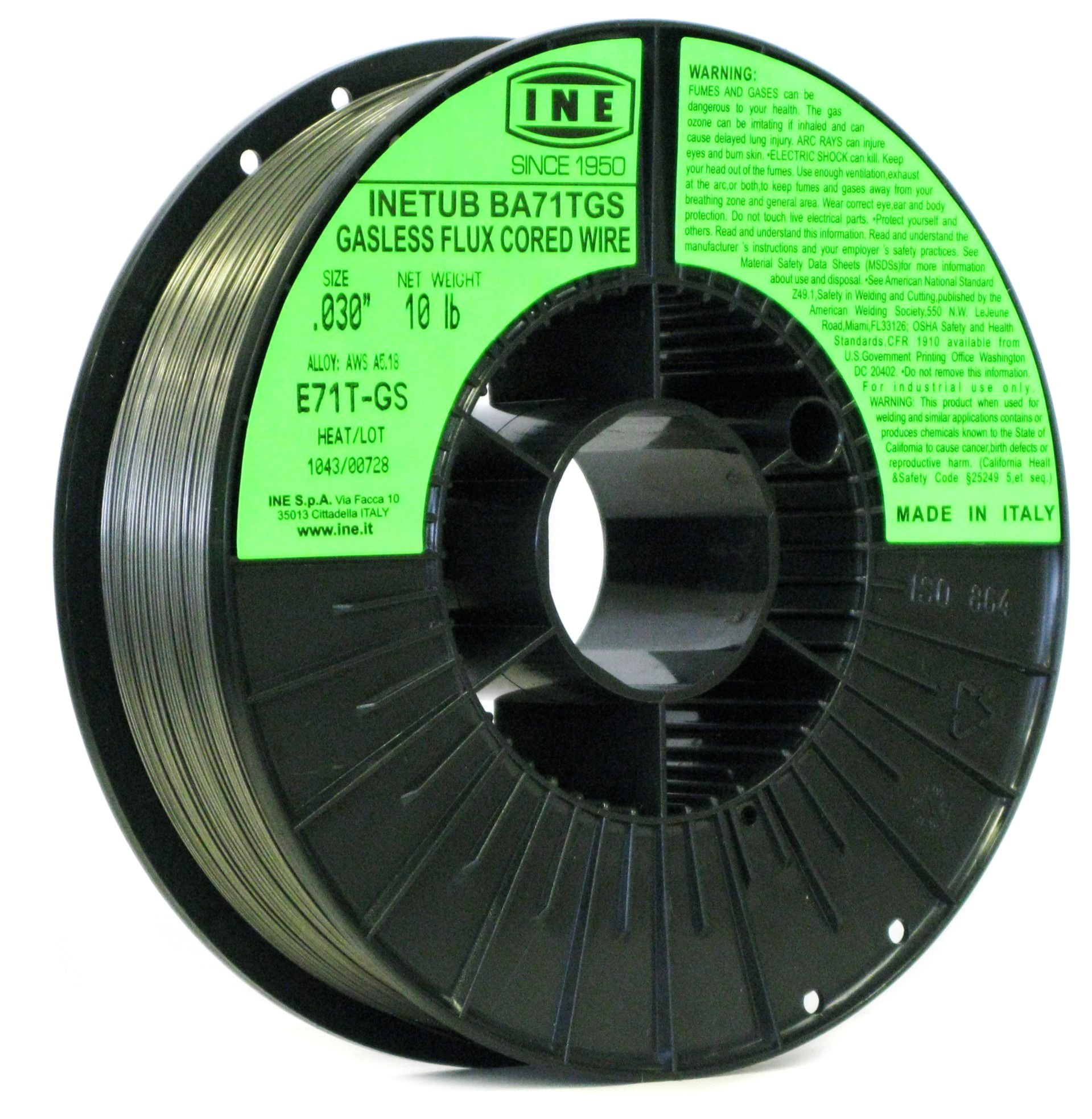 INETUB BA71TGS .030-Inch on 10-Pound Spool Carbon Steel Gasless Flux Cored Welding Wire by INE USA Since 1950