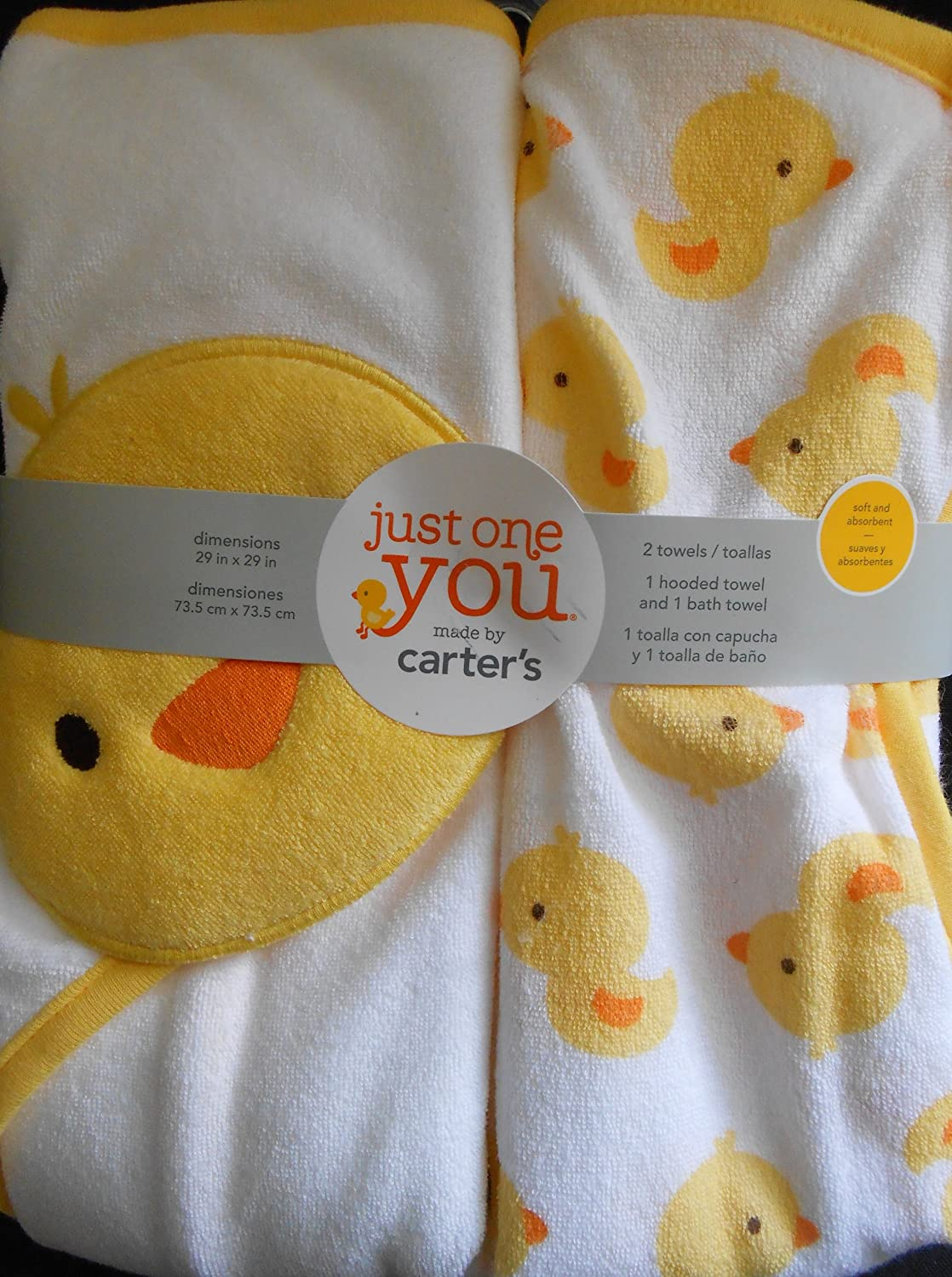 Amazon.com : JUST ONE YOU Made by Carters Baby Newborn 2 Pack Hooded Towel & Bath Towel Set - Yellow duck : Baby