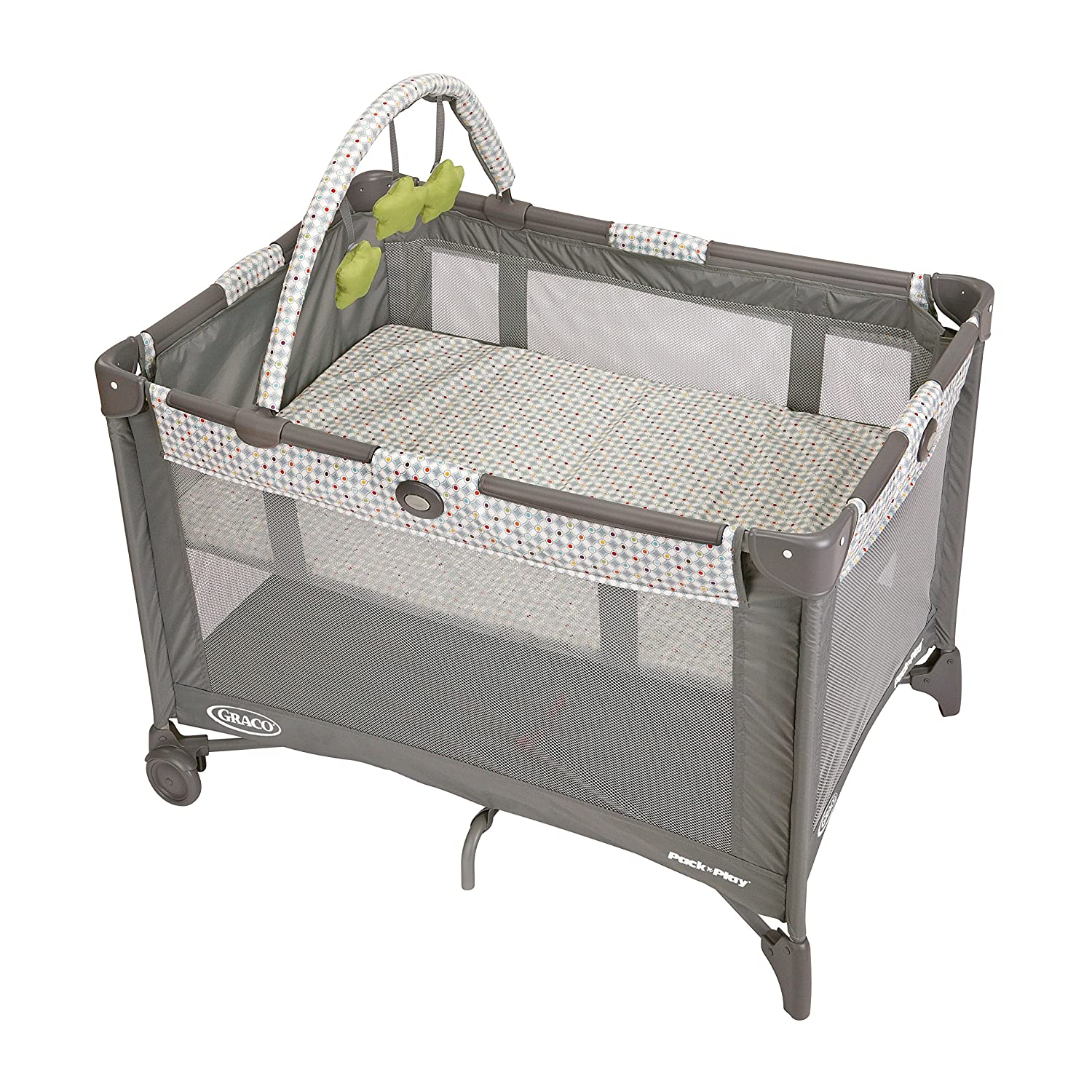 Graco Pack n Play On the Go Playard Includes Full-Size Infant Bassinet, Push Button Compact Fold, Pasadena