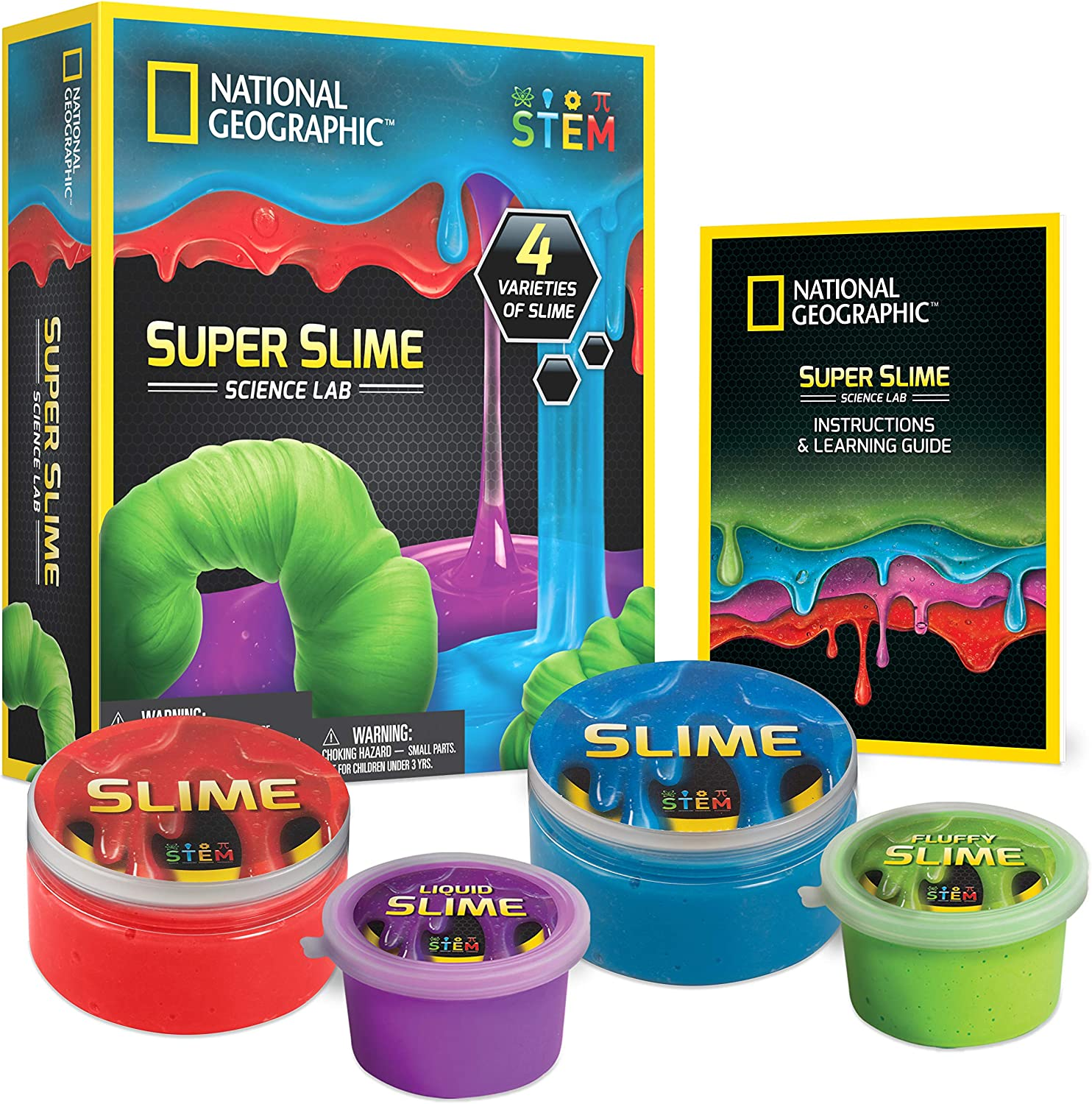 NATIONAL GEOGRAPHIC Super Science Lab – Slime Kit Includes Green Fluffy Slime, DIY Blue & Red Glow-in-The-Dark Slime, Purple Liquid Slime, Containers, Great Stem Toy for Boys & Girls