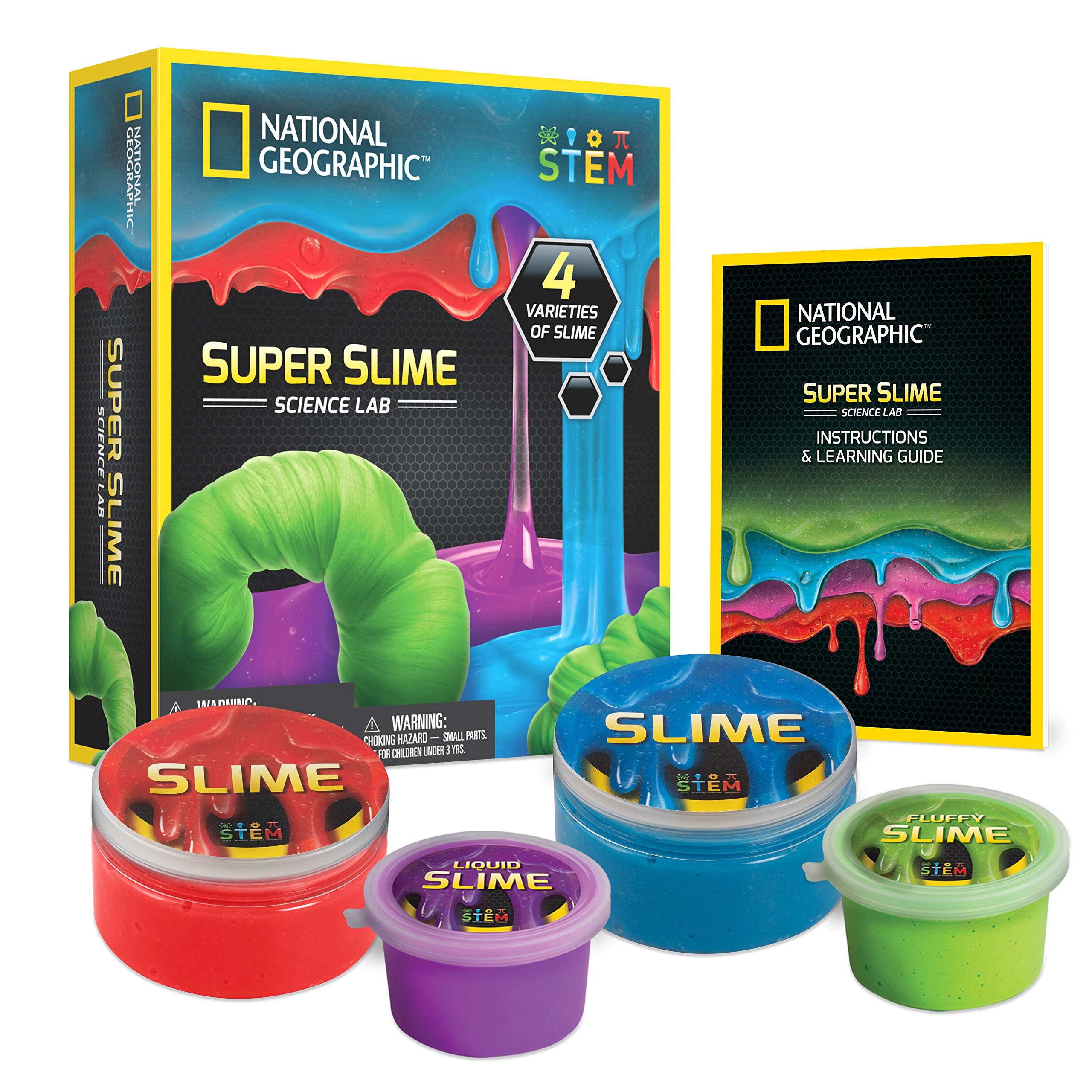 NATIONAL GEOGRAPHIC Super Science Lab - Slime Kit Includes Green Fluffy Slime, DIY Blue & Red Glow-in-The-Dark Slime, Purple Liquid Slime, Containers, Great Stem Toy for Boys & Girls