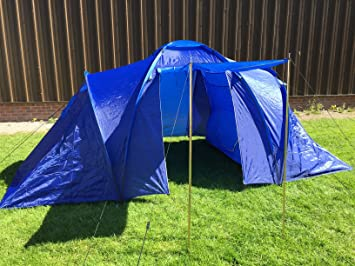 Redcliffs Longwood Large 4 Man Tent Family 2 Rooms C&ing Person Berth Festival (Blue) & Redcliffs Longwood Large 4 Man Tent Family 2 Rooms Camping Person ...
