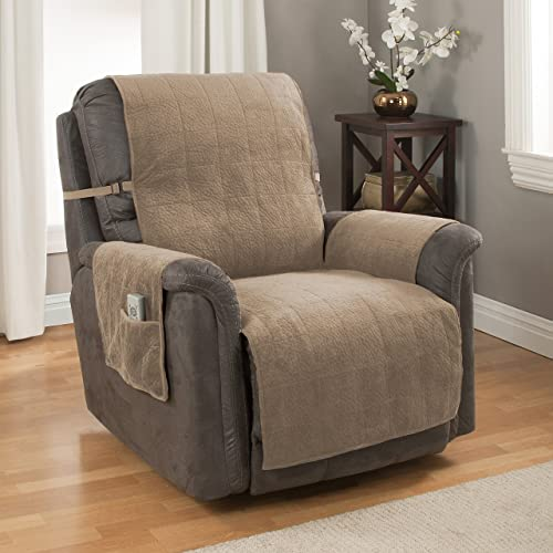 GPD Heavy-Weight Luxury Textured Microsuede Pebbles Furniture Protector and Slipcover with Anti-slip Non-slip Backing (Recliner, Natural)-Water Repellant