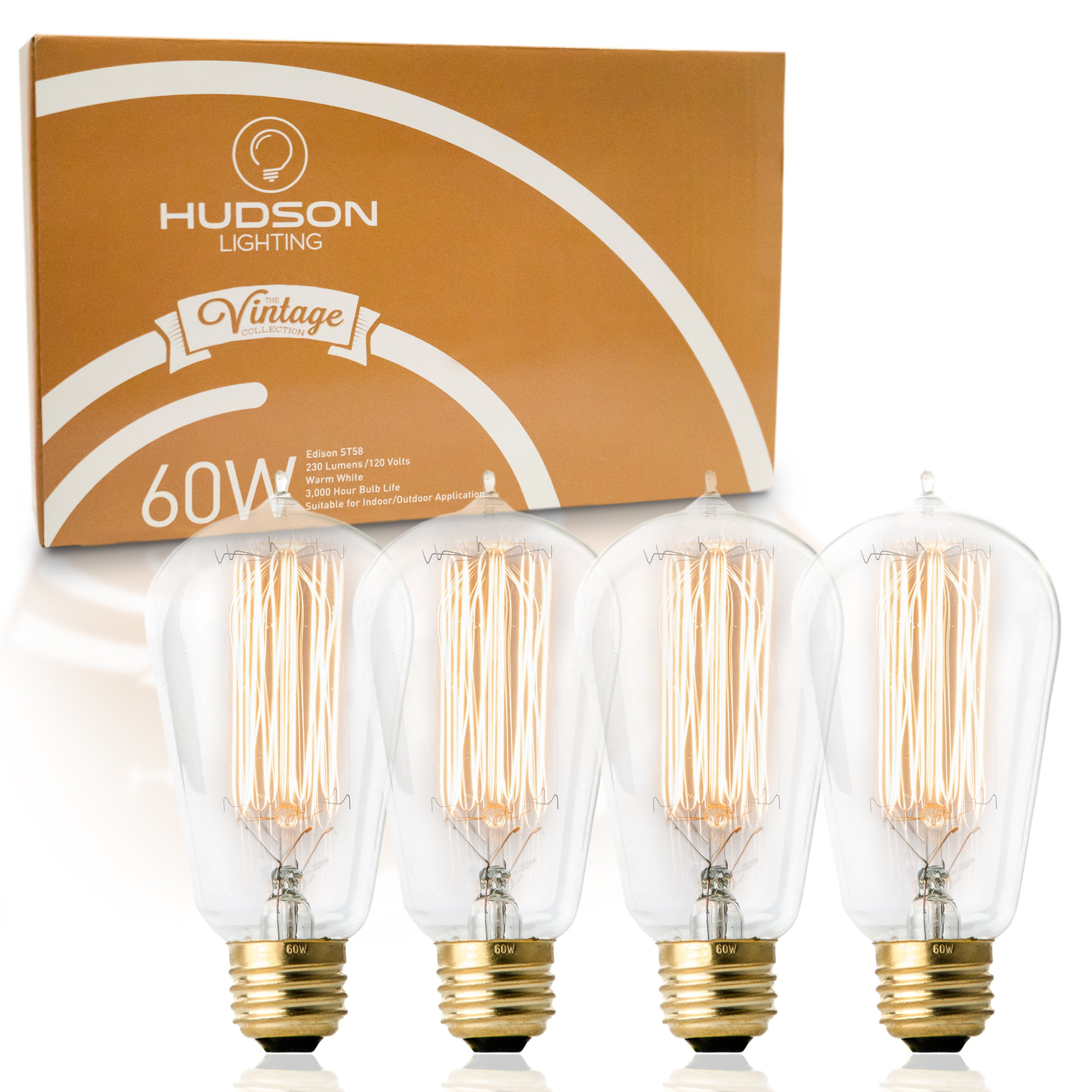 Vintage Incandescent Edison Bulb Set: 60 Watt, 2100K Warm White Edison Light Bulbs - E26 Base - 230 Lumens - Clear Glass - Dimmable Antique Exposed Filament - ST58 Decorative Lightbulbs - 4 Pack by HUDSON LIGHTING (Image #1)