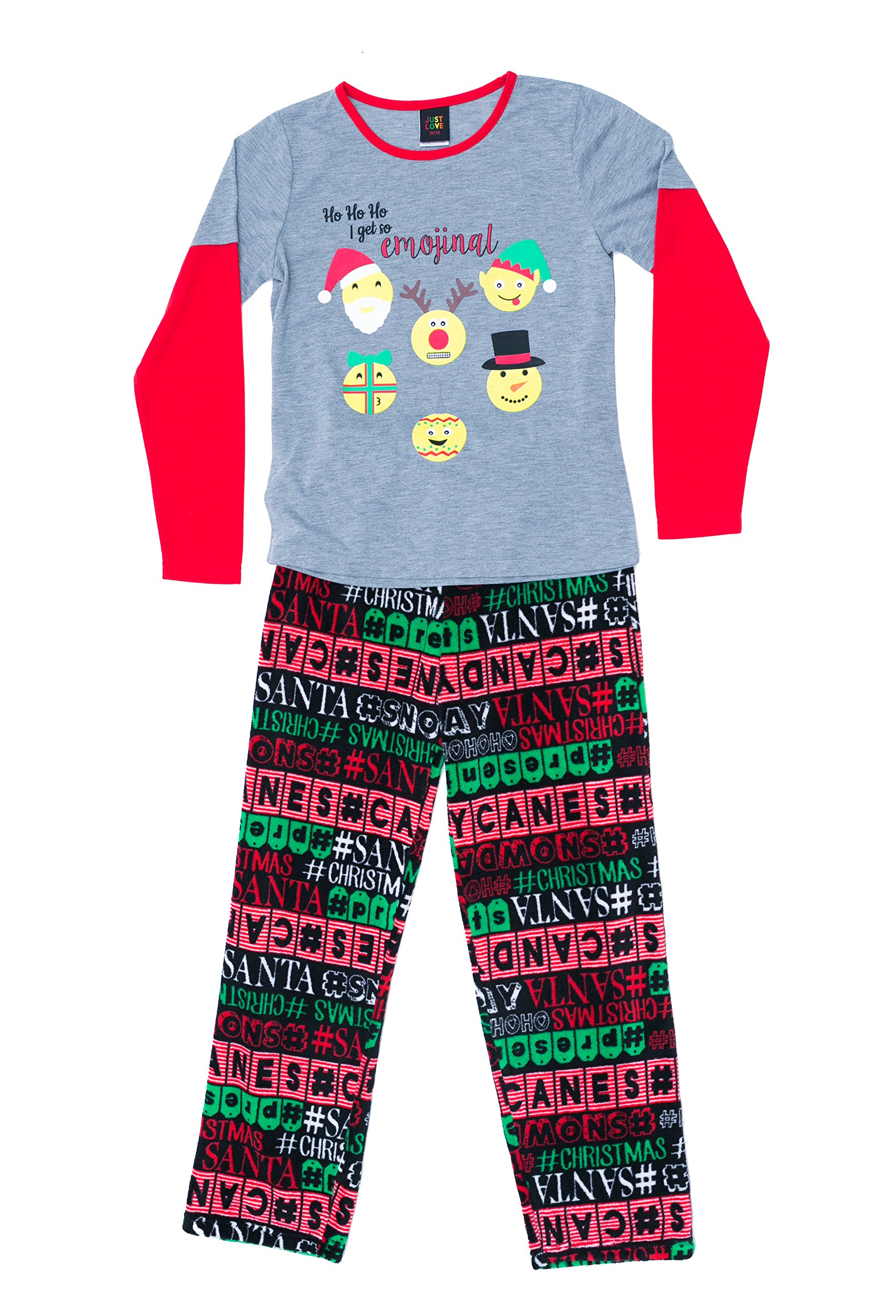 Just Love Holiday Two Piece Girls Pajamas Set for Christmas, Emojinal Words, 14-16