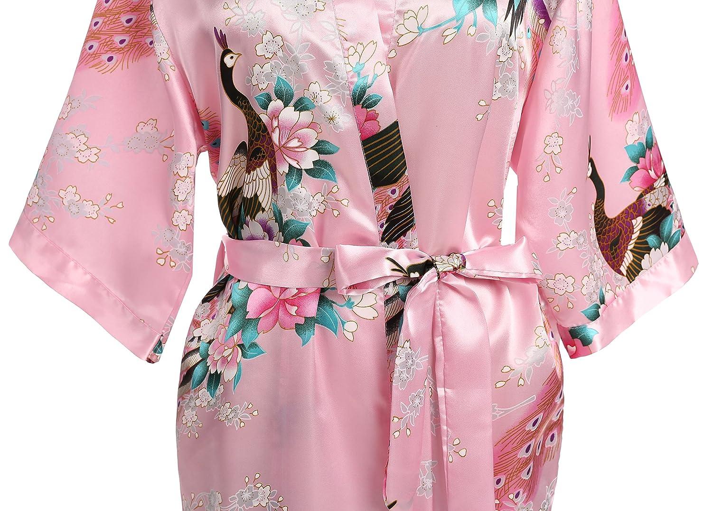 USDisct Elegant Short Sleeve Printing Peacock Silk Womens Kimono Robe for Parties  Wedding Bridal and Bridesmaid 22ec44f53