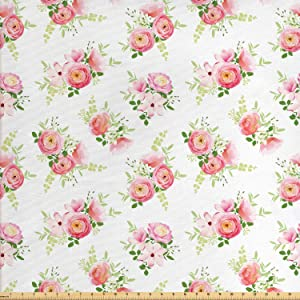 Ambesonne Shabby Flora Fabric by The Yard, Nostalgic Themed Bunch of Magnolia Buds Rococo Poetic Fresh Nature, Decorative Fabric for Upholstery and Home Accents, 1 Yard, Pink Green