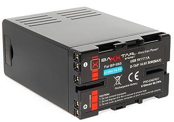 Baxxtar Pro - Bateria Compatible con Sony BP-U65 BP-U60 (6700mAh) - Serie Negra- con Conector D-Tap y Salida USB