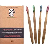 Bamboo Toothbrushes ADULT SUPER SOFT Nylon Bristles BPA FREE with 100% Biodegradable Handles and Packaging Promote Responsible Dental Care Sustainable Toothbrush (4- Pack)