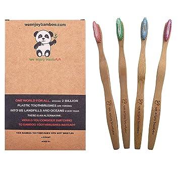 Cepillo de Dientes Madera de Bambú con Cerdas Suaves 100% Libre de ...